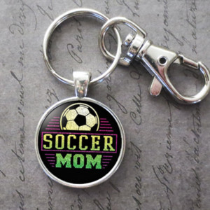 Charm Soccer Mom Glass Cabochon Key Chain Pendant Accessories