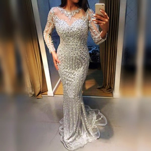 Major Beading Mermaid Prom Dresses Sheer Jewel Neck Silver Crystals Beaded Long Sleeves Evening Gowns Mermaid Shinning Girls Pageant Dress