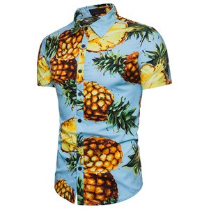 Wholesale Man Clothes Casual Pineapple Printed Shirts High Quality Short Sleeve Male Summer Beach Casual Shirt Size