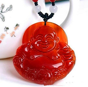 Wholesale laughing buddhas for sale - Group buy Natural Ice agate Brazil Red agate Laughing Buddha pendant jade Buddha maitreya pendant Jewelry for woman
