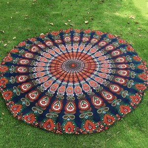 Wholesale hotsale Polyester Round Beach Towel Hippie Mandala tapestry Boho Hippie Indian Tablecloth Yoga Mat Sunscreen Shawl Wrap Indian Mat Picnic