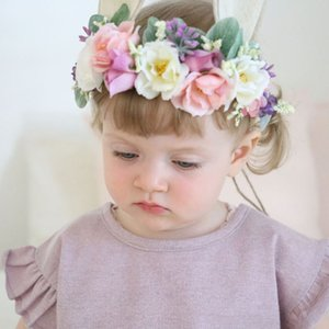 Wholesale Baby Artificial flowers Headbands Girls Rabbit ears hairbands Cute Bunny Crown kids Hair Accessories Photo Prop C4368