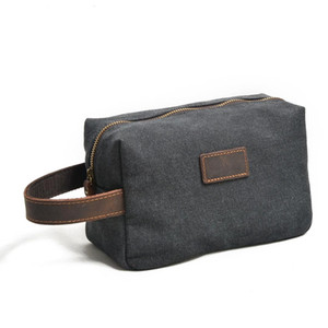 Wholesale 9139 New men s clutch encryption cotton canvas Wash Bag Retro Leather Hand Cowhide Wrist Bag Day Clutches