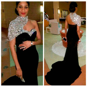 2018 Bling Bling Elegant Black Long Mermaid Evening Dresses High Neck Crystal Beaded Short Sleeves Women Crystal Beaded Formal Prom Gowns