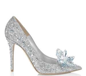 Wholesale crystal wedding shoes with diamond bride flower high heel pointed toe brand name women shoes