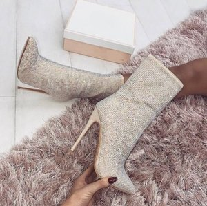 Wholesale Sparkly Rhinestones Designer Women Boots CM Stiletto Heels Pointed Toe Shoes Mid Calf Boot Beaded Plus Size Wedding Bottes