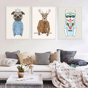 Wholesale Gentleman Animals Decorative Painting Canvas Fashion Designs Poster Pet Dog Picture Wall Paper Decor Home Decoration Paintings
