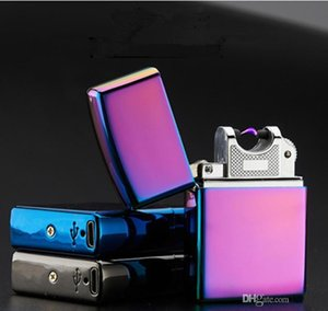 Wholesale Electronic Cigarette lighter Pulsed Arc Slim Windproof cigar Lighter USB Rechargeable Flameless Electric Arc Smoking Lighter c378