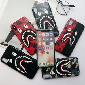 Wholesale High Quality Cool Fashion Shark Mouth Case For iPhoneX 8 8plus IMD Soft TPU Camouflage Shark Back Cover For iphone 6S 7