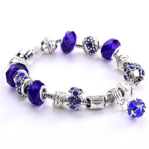 Wholesale Fashion Jewelry Antique Silver Big Crystal Beads DIY Women Charm Bracelet Bead pendant copper Bangle bracelets for Women