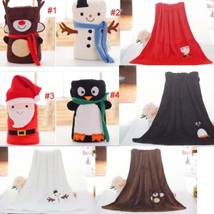 Wholesale 4 styles infant baby Christmas Decoration kdis Aduluts blankets snowman penguim Christmas Santas fleece blanket