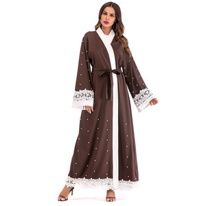 New Muslim Women Patchwork Lace Abaya Dress Whlosale Islamic Women Long Sleeve Beading Maxi Cardigan S-2XL