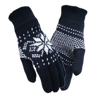 Wholesale Winter Men Knitted Gloves Wool Acrylic Mittens Embroidered Thick Warm Outdoor Plaid Striped Driving Korean Knit Gloves