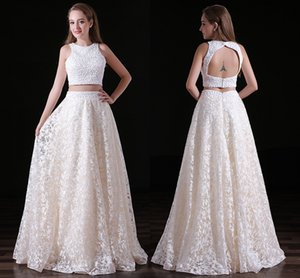 Wholesale Custom Summer Two Piece Prom Dresses Lace High Waist A Pendulum Formal Evening Dresses Backless Zipper White Gowns DH315