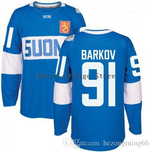 Wholesale white #91 Aleksander Barkov Blue Finland Team 2016 World Hockey Jersey Customize any number and name Jerseys