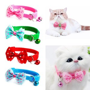Cat Collar Bell Candy Color Adjustable Bow Tie Bell Bowknot Collar Necktie Puppy Kitten Dog Cat Pet