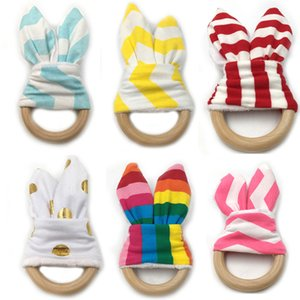 Wholesale Infant Bunny Ear Teethers Baby Teething Ring Fabric Wood Nursing Teethers Crinkle Material Inside Sensory Soothers Teeth Training Toy Hot