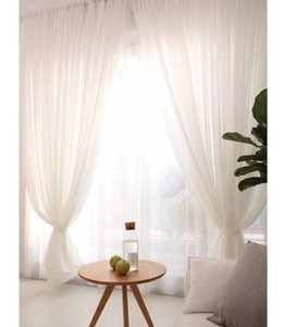 linen white sheer curtains panel ready make 1.5M 2 M window curtain set for home decoration use