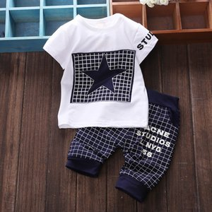 Wholesale Baby Sets The Star Child Plaid T Shirt pants pc Suit Boy and Girl Kids Sport Clothing Suits Ages