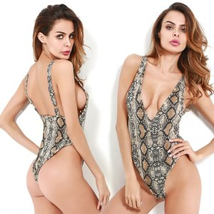 Wholesale Occident Style Slim Rompers Women Bare Back V Neck Blouse Sexy Serpentine Printing Low Chest Jumpsuit RF0806