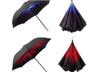 Wholesale New Design Color LED Inverted Travel Reverse Umbrella Cars Warning with Flashlight for Night Safe Gifts Flash Umbrella