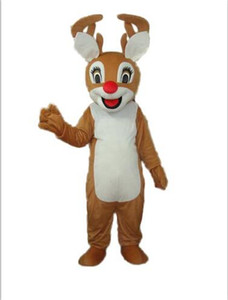 With one mini fan inside the head Christmas red nose reindeer deer mascot costume for adult to wear