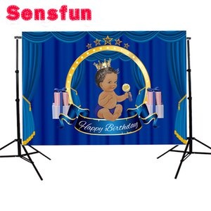 Wholesale photographic background frame design baptism Communion Blue Curtain baby new backdrop photocall photo printed