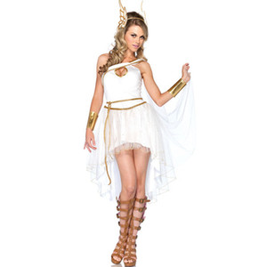 New Design New Fashion White Bohemia Style Dresses Irregular Sexy Dress Party Dresses Paillette Dress Elf Cosplay Costume