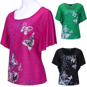 Wholesale new style women s summer fashion loose bats printed T shirt round collar