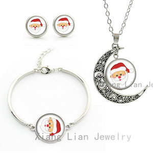 Wholesale Cute Cartoon Father Christmas Santa kawaii statement necklace earrings bracelet lovely women and kids jewelry sets gifts CM84