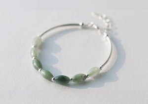 Wholesale 100 Real Sterling Silver Natural Green Jade Oval waterdrop Lucky Ball round bead charms Bracelet Bangle Cuff GTLS398 S18101308