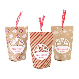 Wholesale 2018 Christmas New Candy Box Christmas Eve Vintage Kraft Paper Bag Creative Gift Candy Box Small Paper Bag