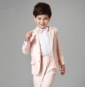 Custom Made Two Buttons Notch Lapel Pink Kid Complete Designer Handsome Boy Wedding Suit Boys' Attire Custom-made (Jacket+Pants+Tie) 825