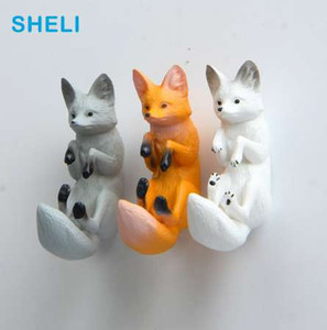 Wholesale Simulation Fox Fridge magnets Big Head Dog cartoon Animal whiteboard sticker Refrigerator Magnets Kids toy gifts Home Decoration