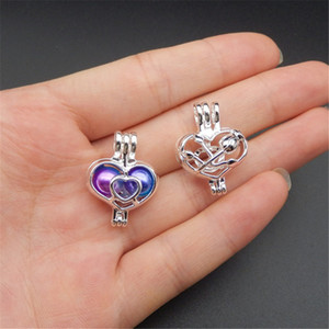 10pcs Silver Rose in Heart Pearl Cage Jewelry Making Supplies Bead Cage Pendant Essential Oil Diffuser Locket For Oyster Pearl