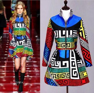 726 New Arrival 2018 Runway Dress Brand Same Style Two Piece sets Above knee Empire Luxury Fashion Prom Womens Clothes DMS