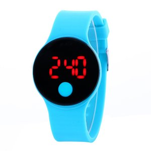Silicone touch screen circular single point button watch silicone gel jelly electronic student gift Watch on Sale