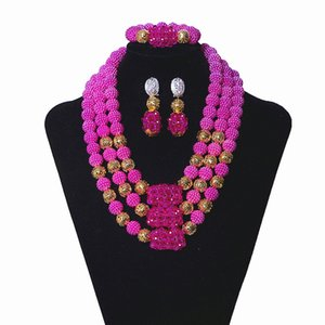 Wholesale Purple Bridal Necklace African Jewelry Set For Women Dubai Gold Plated Ball Wedding Jewelry India Beautiful Handmade Jewelry