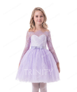 Pretty Purple Blue Green Pink Knee Flower Girl Dresses Princess Dresses Girl's Pageant Dresses Custom Made Size 2-6 8 10 12 14 KF404336