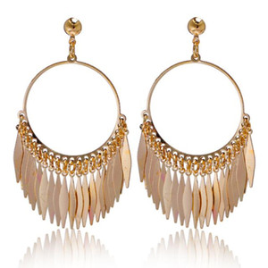 Bohemian Earrings Vitage 18K Gold Plated Tassel Dangle Earrings Fashion Jewelry for Women Statement Earrings European