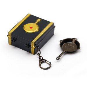 Wholesale Battleground Game Jewelry Keychain Treasure Box Holder Metal PUBG Pan Keyring For Men Car Accessory set