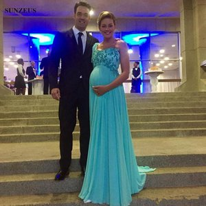 Wholesale Light Blue Chiffon Maternity Evening Dresses 2019 Hot Selling New Custom Applique Beaded One Shoulder Empire Pregnant Formal Prom Gowns E016