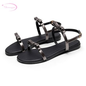 Wholesale sweet party style patent summer sandals fashion belt buckle bowknot black gray white red flat heel women s shoes