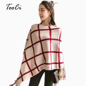 Wholesale Women Ponchos And Capes Beige Bat Sleeve Women Pullover And Sweater Tassels Poncho Cloak Jacket Coat Outwear Colors