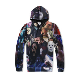 halloween filme großhandel-Mode Männer Frauen Hoodies Horrorfilm Killer Halloween Devil Shark Zombie D Drucken Casual Sweatshirt Hoodie Heißer Verkauf Asiatische Größe
