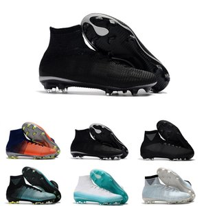 Wholesale Original Black CR7 Football Boots Mercurial Superfly V FG Soccer Shoes C Ronaldo Top Quality Silver Mens Soccer Cleats