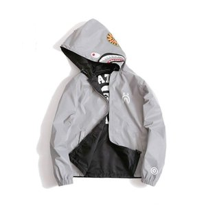 Men Shark Print Hoodie Men Women Fashion Fun Reflective Light Sweater Jacket WGM Full Zipper Hoodie Fleece Cardigan Sweatshirts