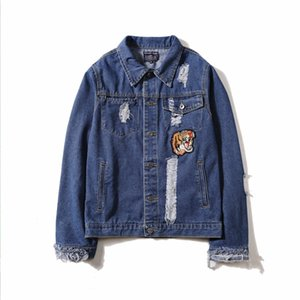 Wholesale Tiger Embroidery Man blue cowboy Jacket Korean Edition Repair the body Leisure time Loose coat fashion Youth Jacket Take the tide