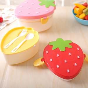 Wholesale 500ml Strawberry Shape Lunch Box Layer Food Fruit Storage Bento Boxs Red Pink Microwave Tableware Kid Cute School Bowl