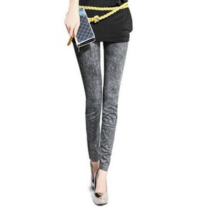 Wholesale Fashion Slim Women Stretch Denim Jeans Ladies Leggings Casual Thin Pencil Pants Skinny Faux Denim Elastic Leggings Types